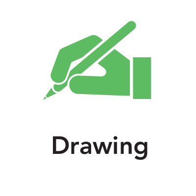 Green hand with pencil graphic