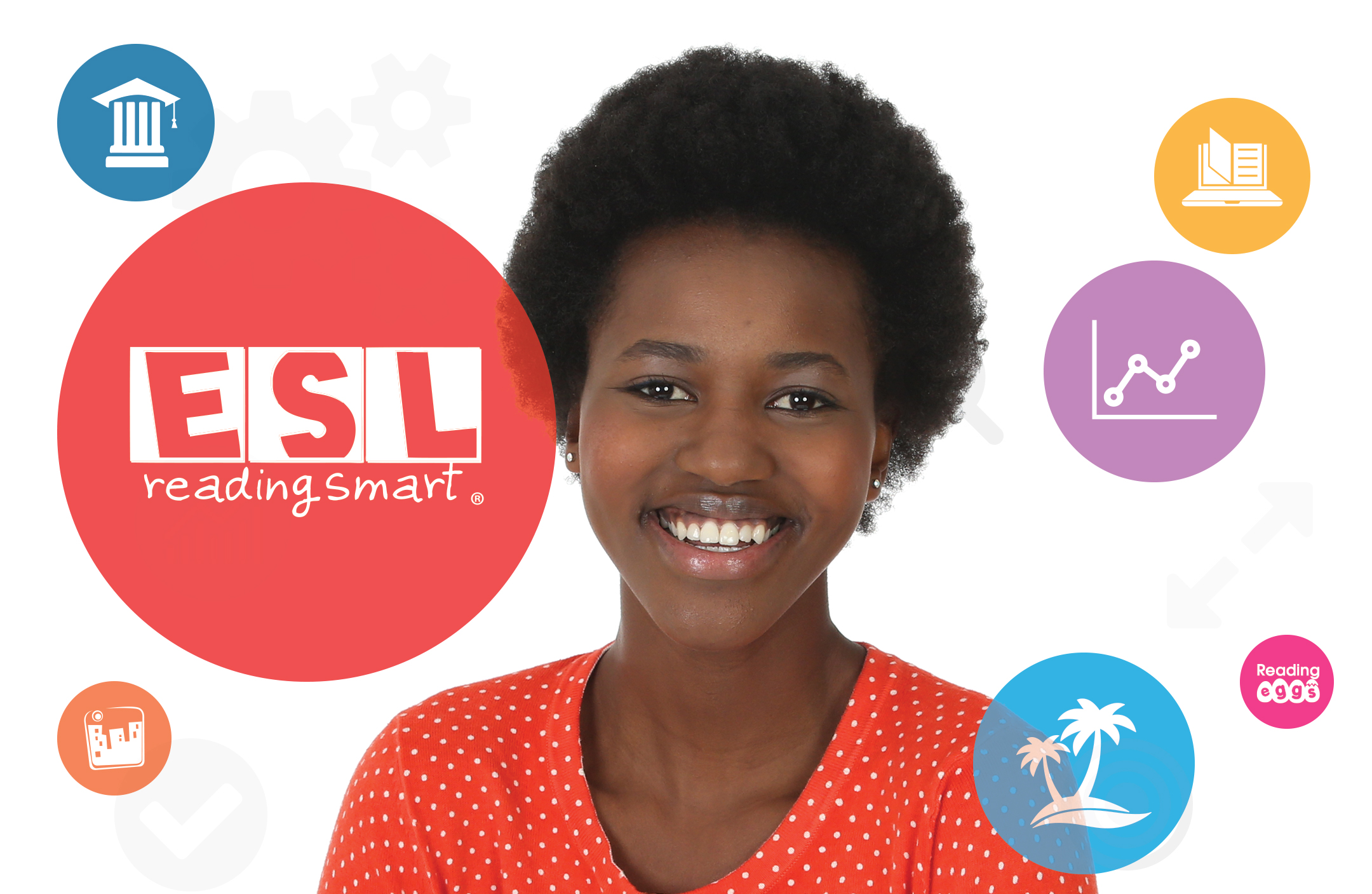 Image of student with ESL logo next to her.