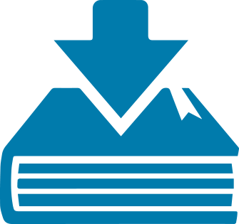 Image of a blue book with a download arrow.