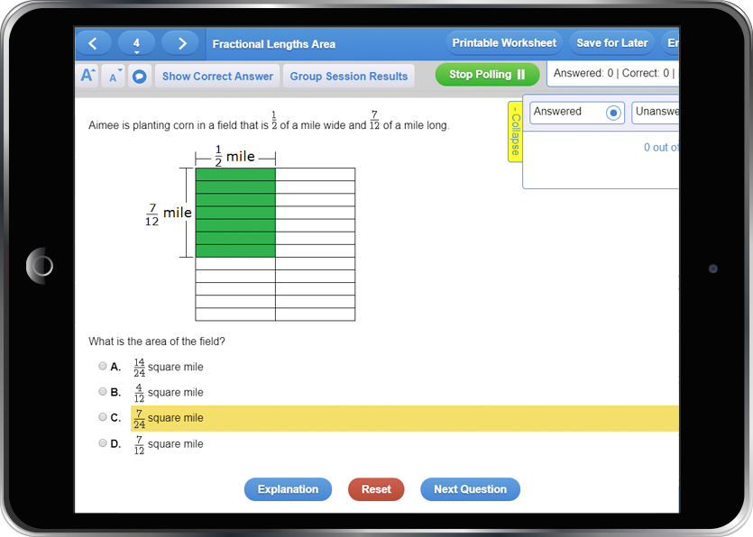 Screen capture of a Study Island question presented on an iPad.