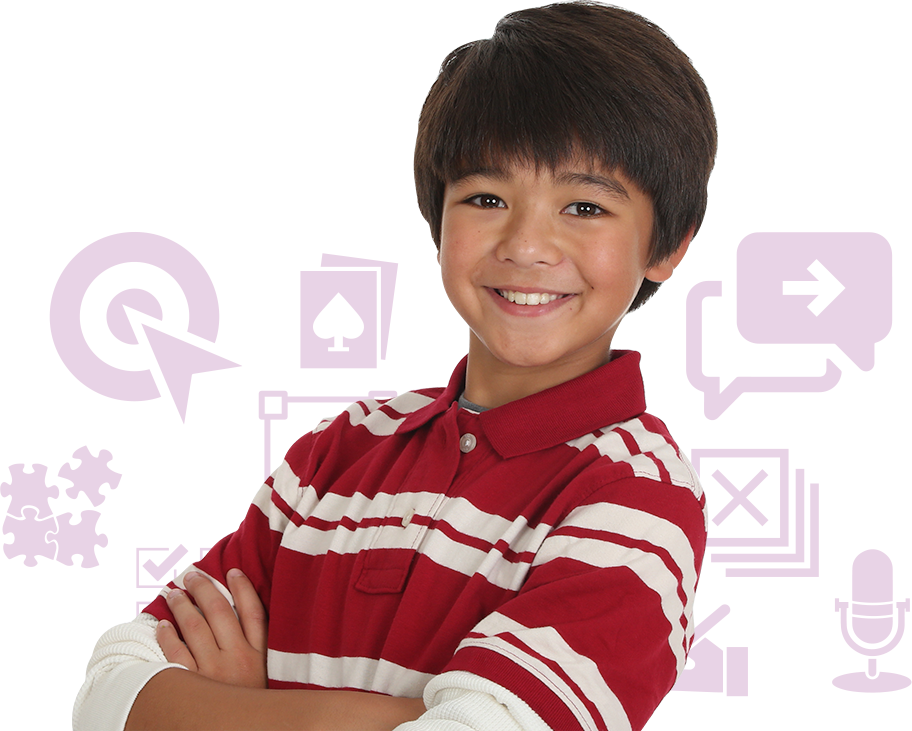Child smiling with purple clip art behind him.