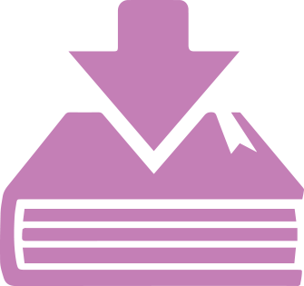 Purple book with download arrow clip art image