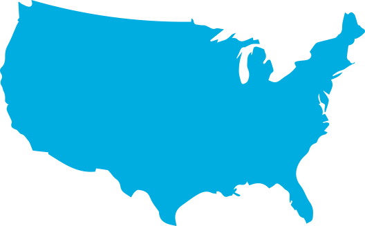 Blue map of the U.S. graphic
