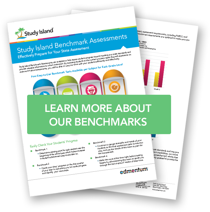 Image of Study Island Benchmark Assessments document. Image is a like to learn more about benchmarks in Study Island.